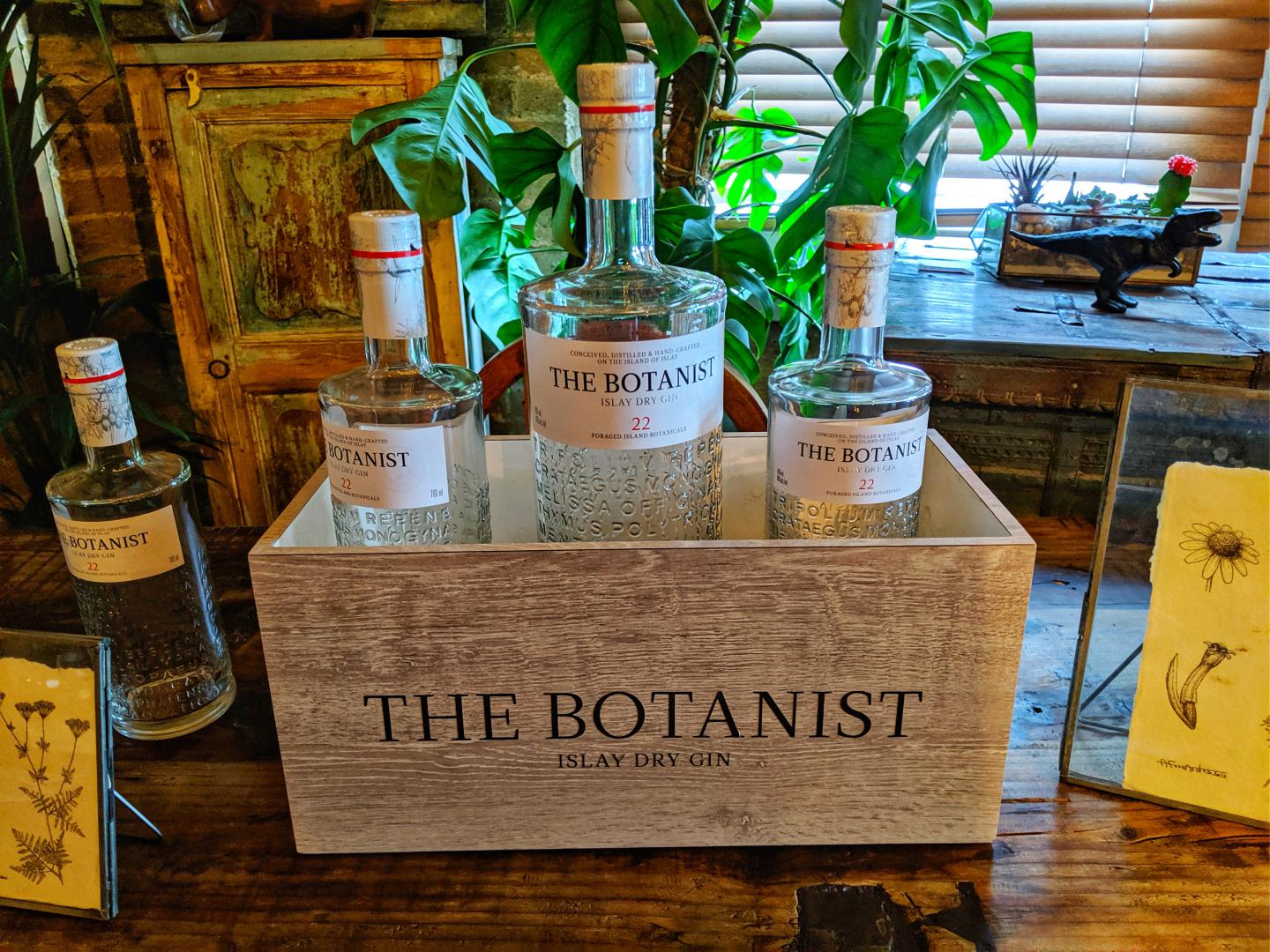 Bottle of Botanist Gin sitting on a table