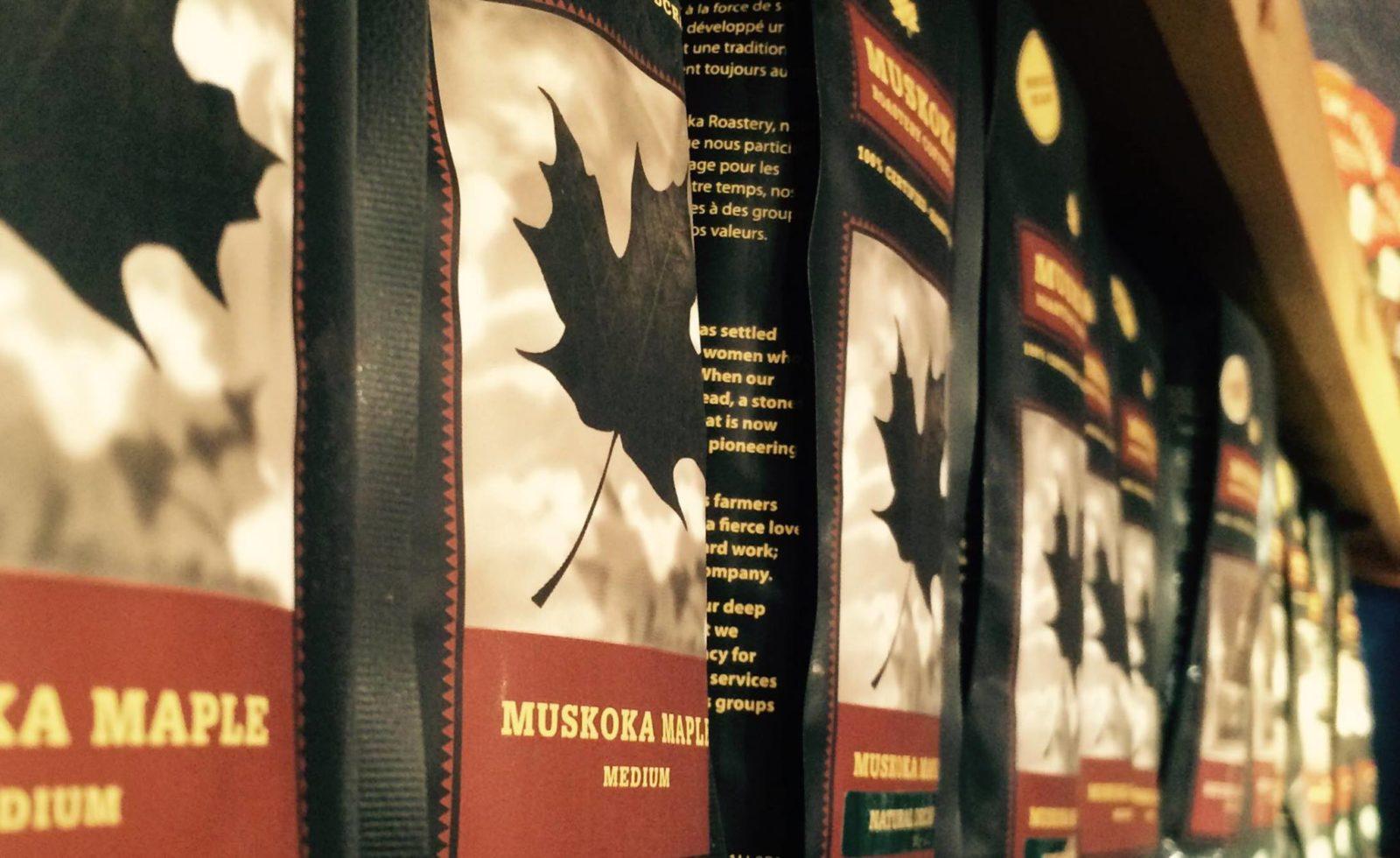 Muskoka Coffee Roasters provide coffee to some of the best coffee shops in Huntsville, seen here on a shelf